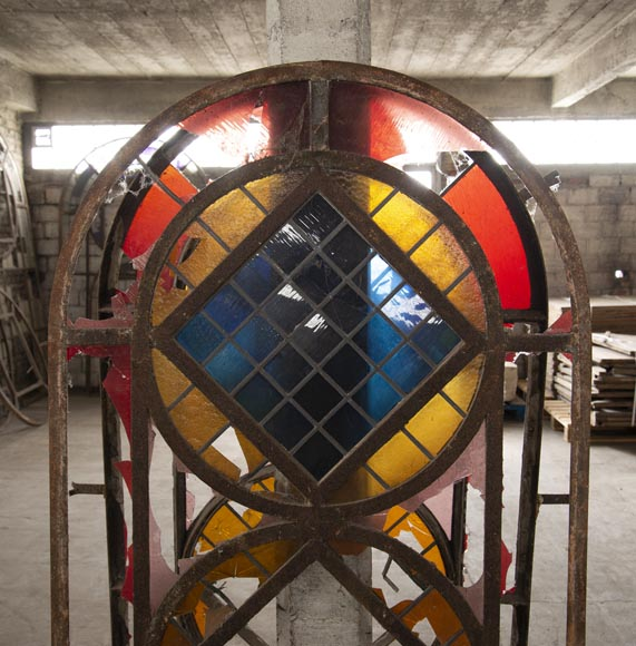 Important set of 20th century Art Deco style stained glass windows-9