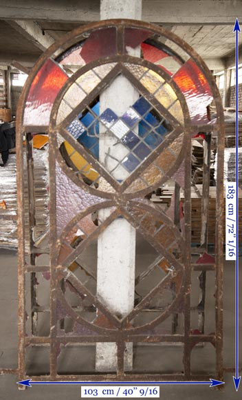 Important set of 20th century Art Deco style stained glass windows-10
