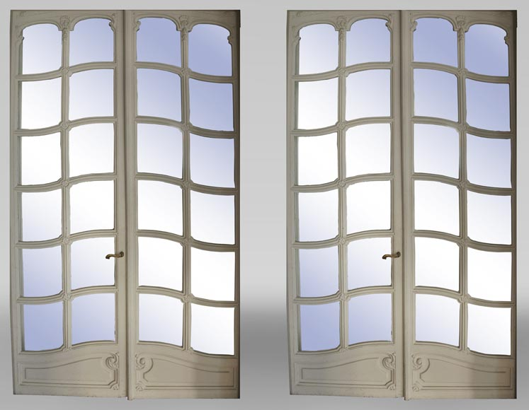 Pair of Napoleon III style double mirror doors-0