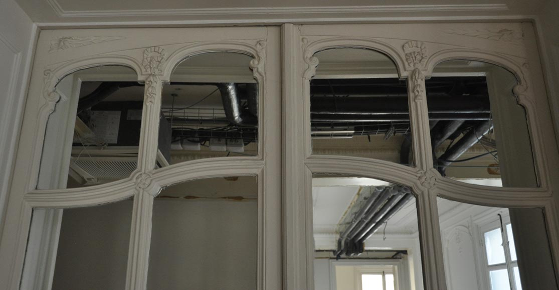 Pair of Napoleon III style double mirror doors-1