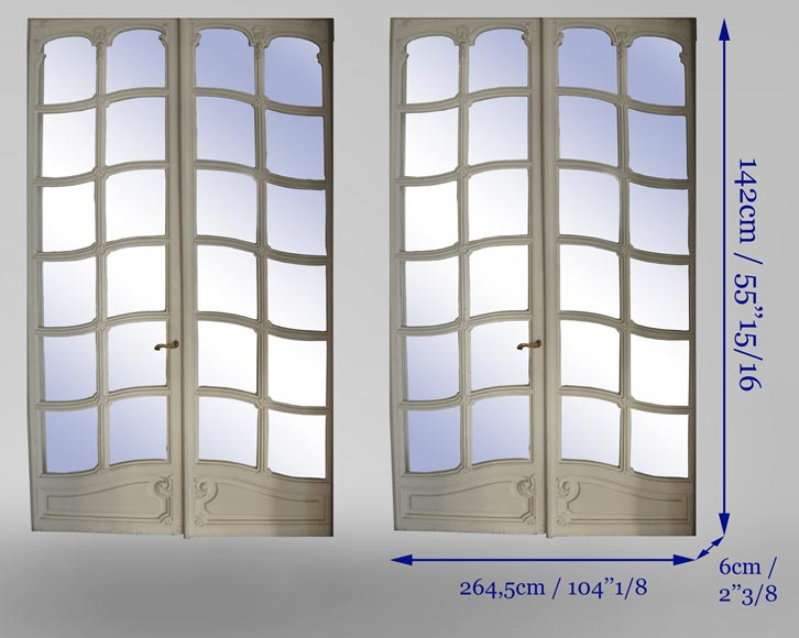 Pair of Napoleon III style double mirror doors-6