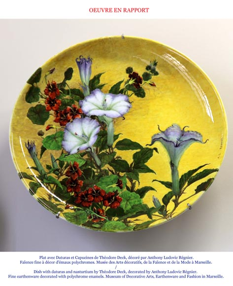 Théodore DECK (ceramist) and Anthony Ludovic REGNIER (painter) - Ceramic dish glazed with tiger lily and butterfly on a blue background-7