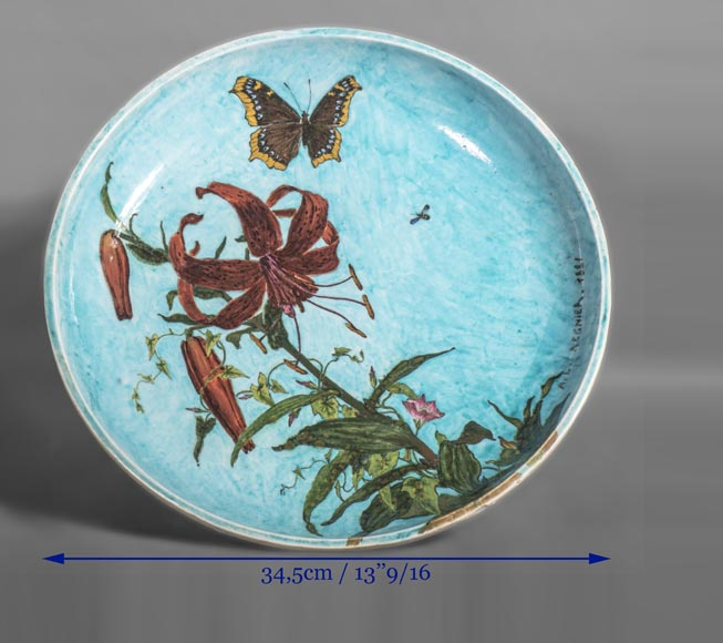 Théodore DECK (ceramist) and Anthony Ludovic REGNIER (painter) - Ceramic dish glazed with tiger lily and butterfly on a blue background-8