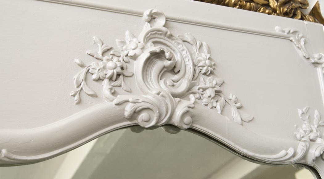 An Antique Louis XV style overmantel with flowers and acantus-2