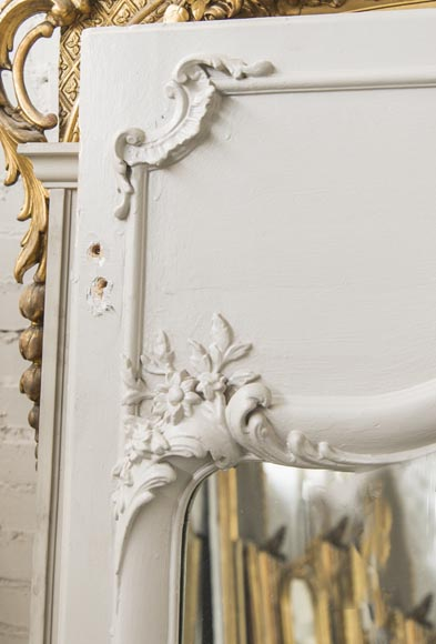 An Antique Louis XV style overmantel with flowers and acantus-3