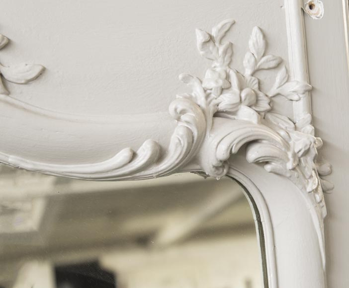 An Antique Louis XV style overmantel with flowers and acantus-4