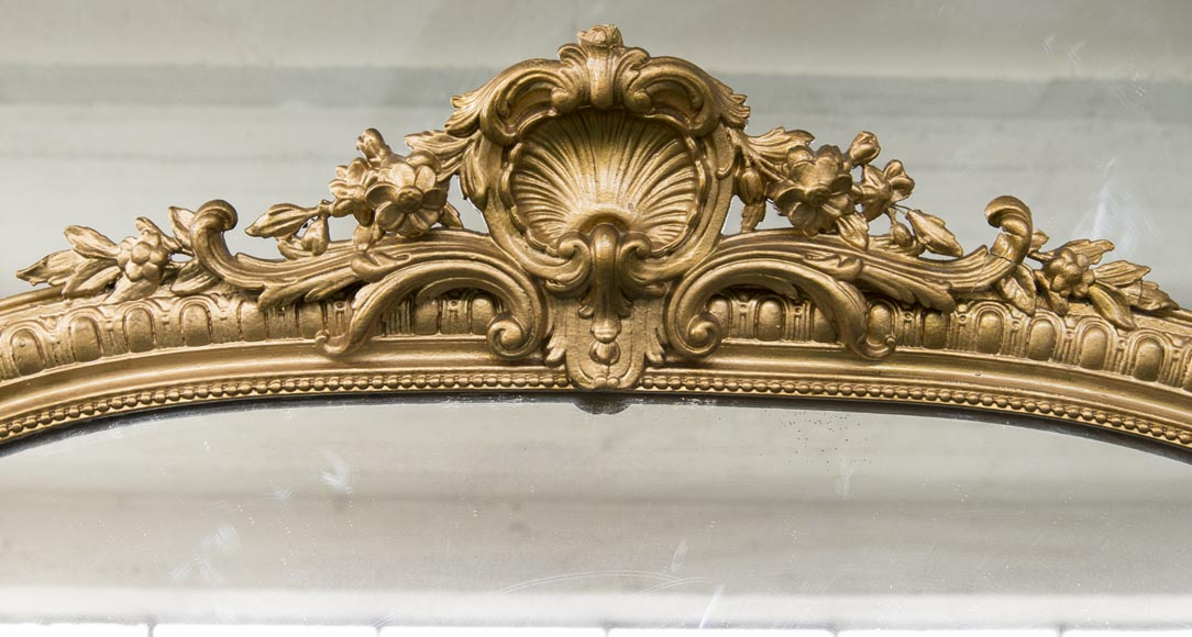 An antique Regency style overmantel, pediment surmounted by a shell, bronzine-type paint-1