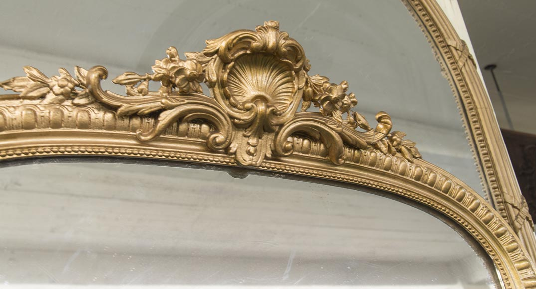 An antique Regency style overmantel, pediment surmounted by a shell, bronzine-type paint-2