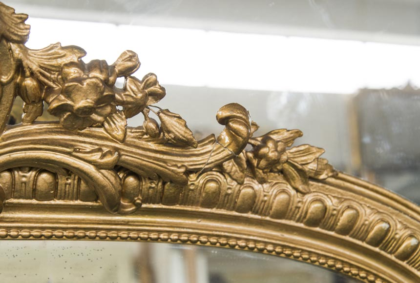 An antique Regency style overmantel, pediment surmounted by a shell, bronzine-type paint-3