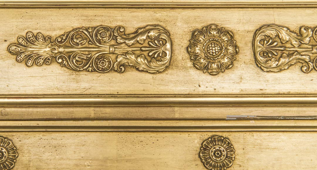 An antique Empire style overmantel, gilded, lions decorated pediment-2