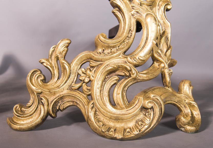 An antique Louis XV style pair of chenets made out of bronze-2
