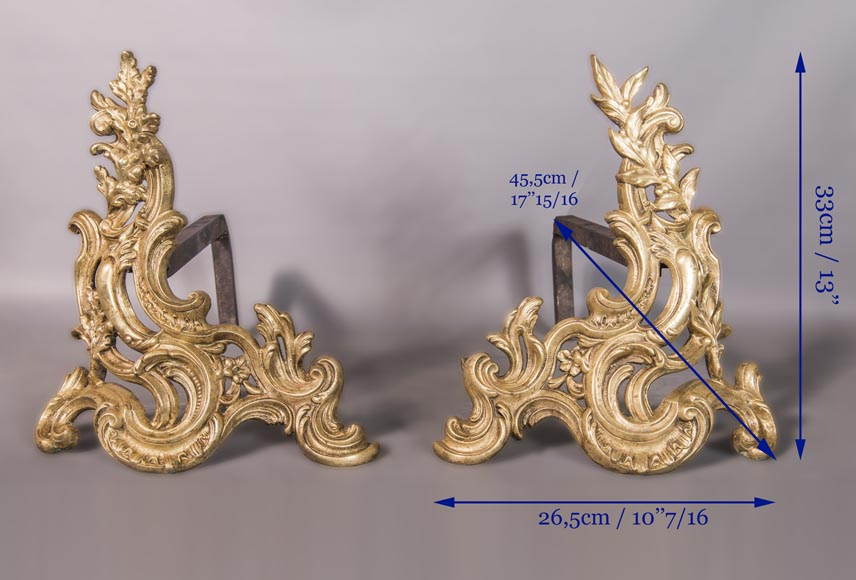 An antique Louis XV style pair of chenets made out of bronze-4