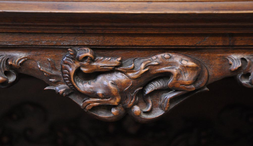 Large Neo-Renaissance style buffet in carved walnut with Louis XII and Francis I of France emblems-6