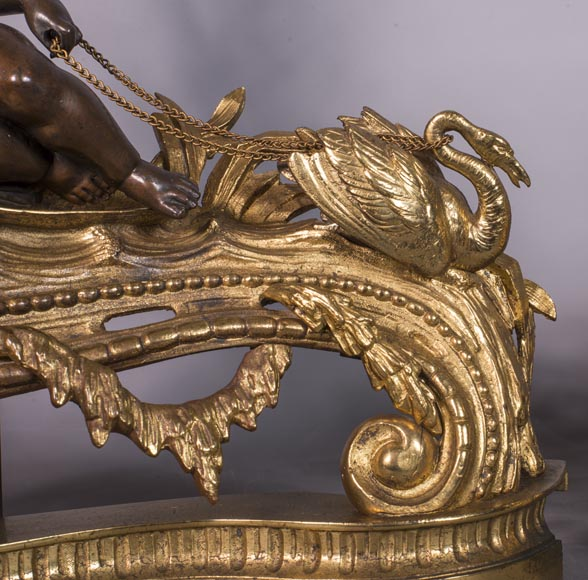 An antique pair of Napoleon III style chenets made out of bronze with two patinas with putti and swans-3