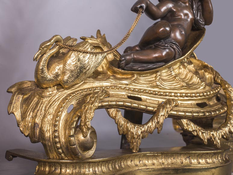 An antique pair of Napoleon III style chenets made out of bronze with two patinas with putti and swans-6
