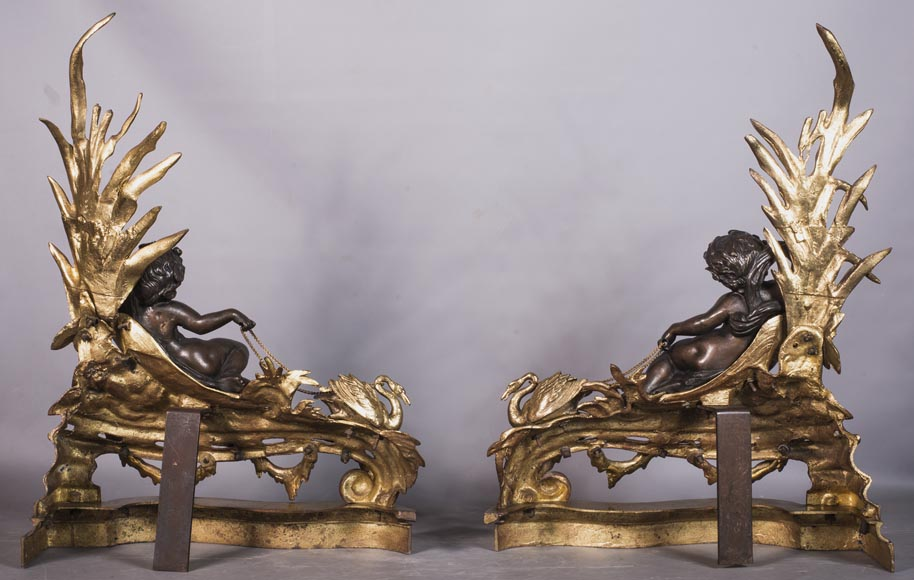 An antique pair of Napoleon III style chenets made out of bronze with two patinas with putti and swans-7
