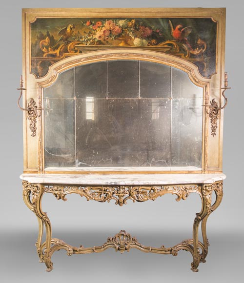 An antique console and its mirror, in Louis XV style, with parrots-0