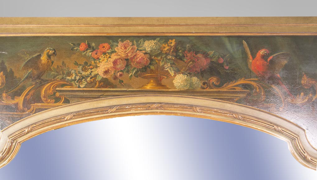 An antique console and its mirror, in Louis XV style, with parrots-1