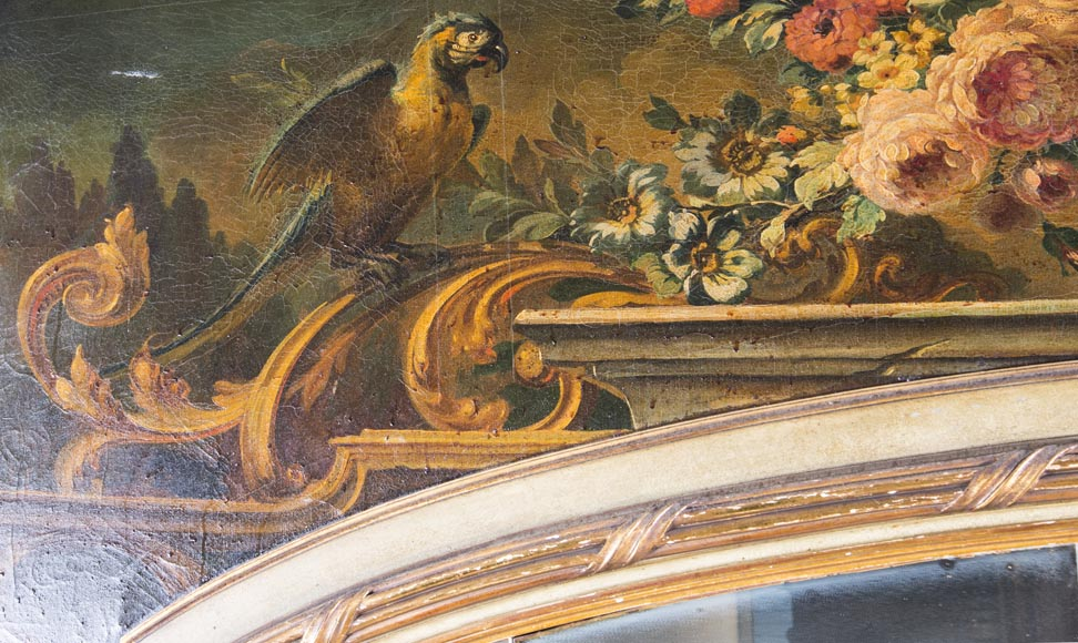 An antique console and its mirror, in Louis XV style, with parrots-2