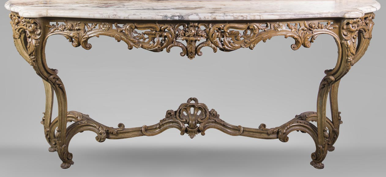 An antique console and its mirror, in Louis XV style, with parrots-7