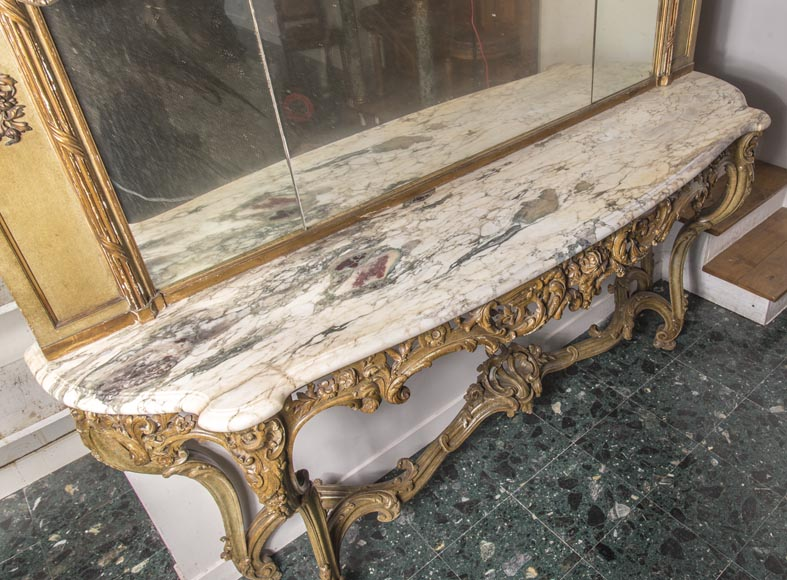 An antique console and its mirror, in Louis XV style, with parrots-12