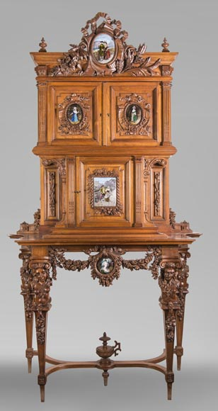 Cabinet in walnut molded and carved with enamelled plates decoration-0
