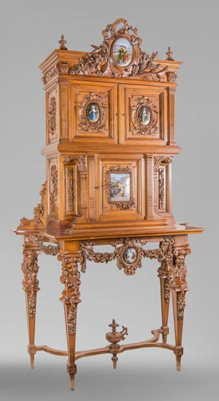 Cabinet in walnut molded and carved with enamelled plates decoration-1
