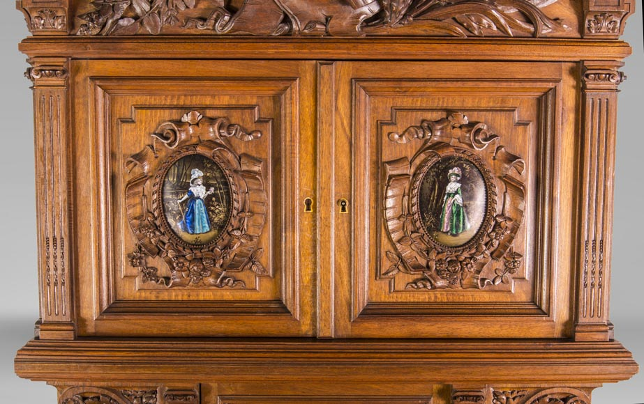 Cabinet in walnut molded and carved with enamelled plates decoration-3