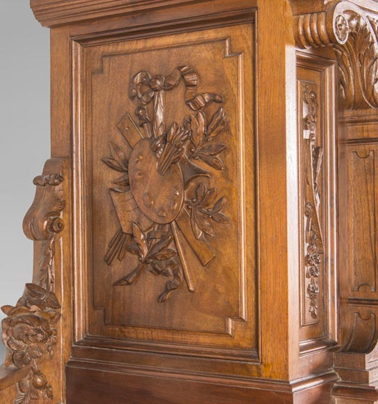 Cabinet in walnut molded and carved with enamelled plates decoration-5