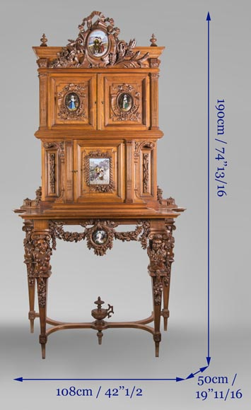 Cabinet in walnut molded and carved with enamelled plates decoration-13
