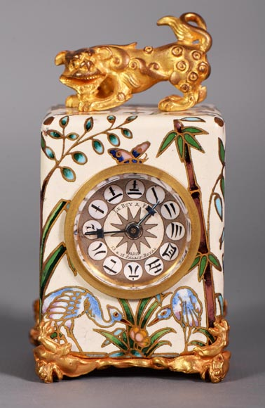 LE ROY & FILS - Travel clock with japanese decoration-0
