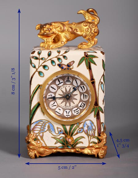 LE ROY & FILS - Travel clock with japanese decoration-8