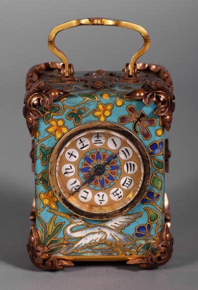 LE ROY & FILS - Travel clock with enamelled japanese decoration-0