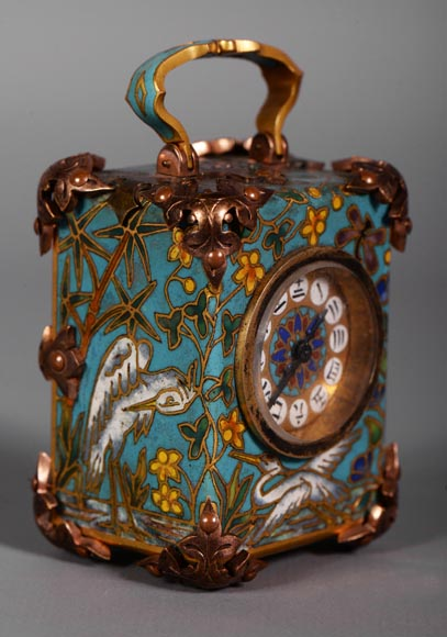 LE ROY & FILS - Travel clock with enamelled japanese decoration-1