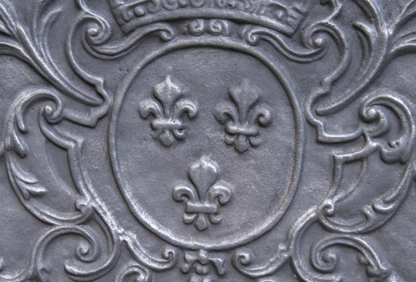 Little cast iron fireback with the French coat of arms-2