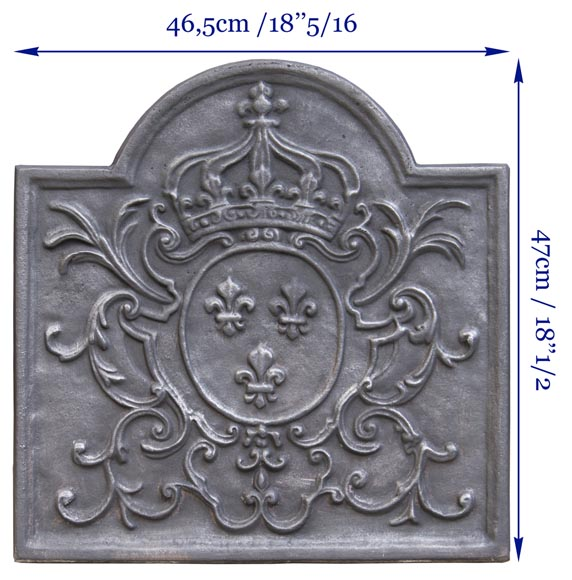 Little cast iron fireback with the French coat of arms-6