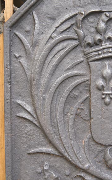 Cast iron fireback with the French coat of arms-3