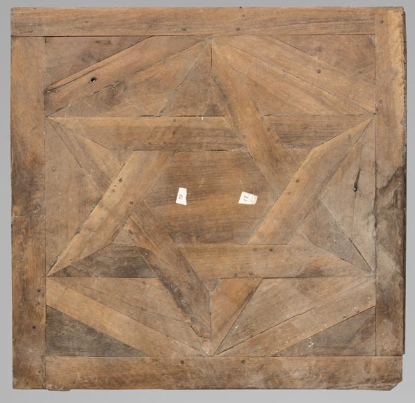 Lot of antique oak parquet flooring, star decor, 18th century-0