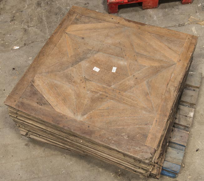 Lot of antique oak parquet flooring, star decor, 18th century-1