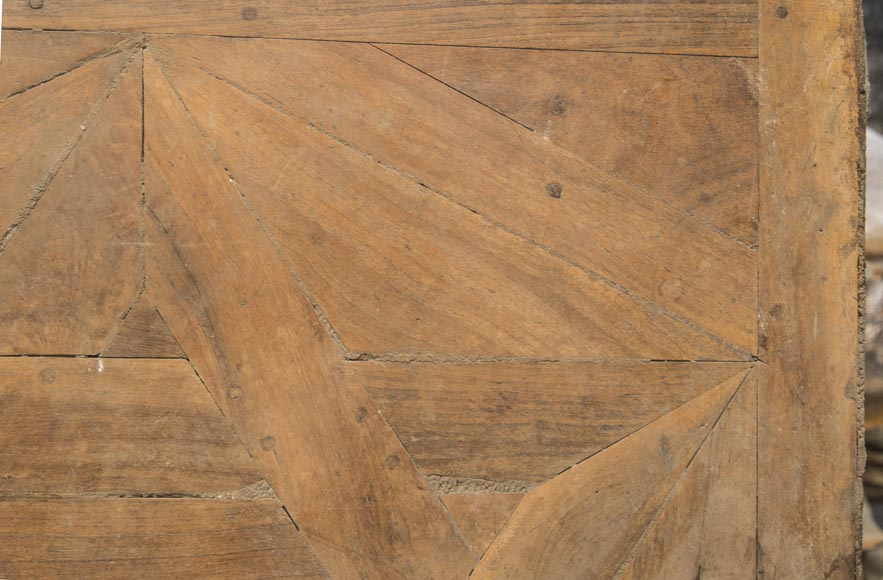 Lot of antique oak parquet flooring, star decor, 18th century-2