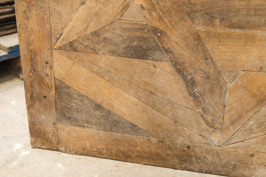 Lot of antique oak parquet flooring, star decor, 18th century-3