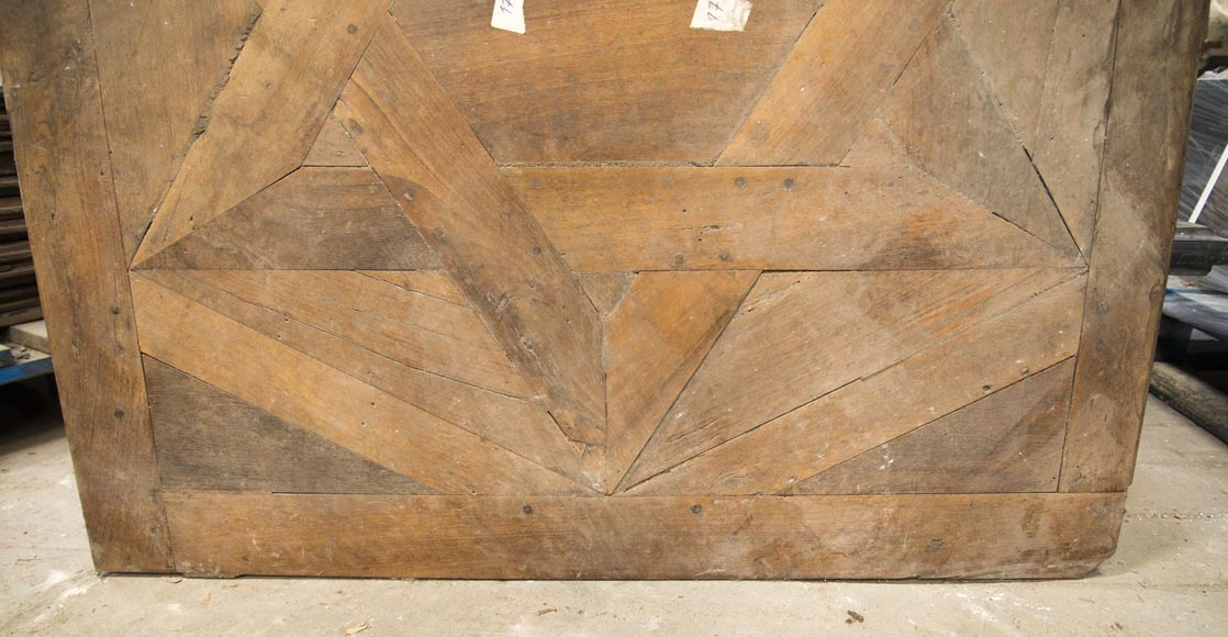 Lot of antique oak parquet flooring, star decor, 18th century-4