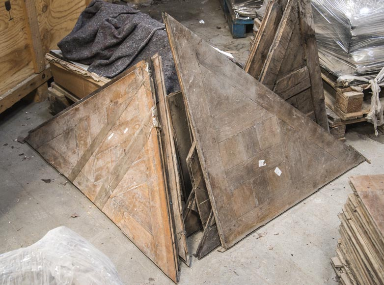 Lot of antique oak parquet flooring, star decor, 18th century-6