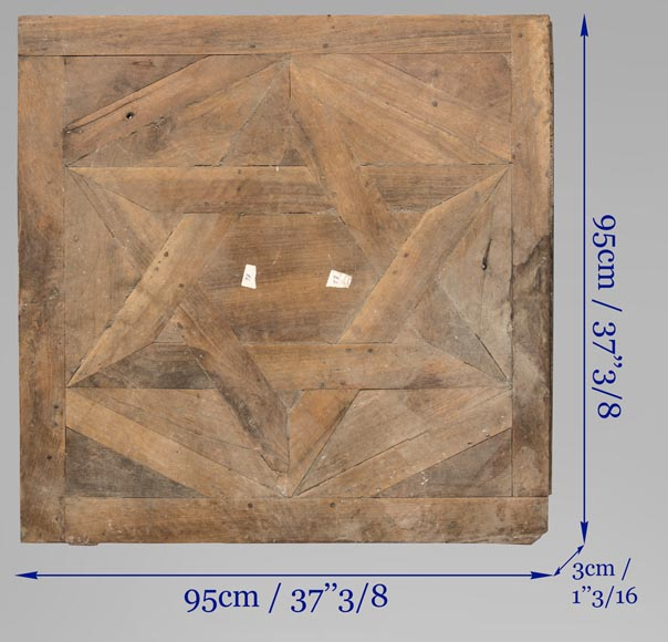 Lot of antique oak parquet flooring, star decor, 18th century-8