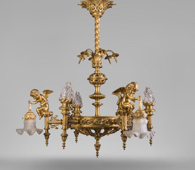 Beautiful antique Napoleon III style chandelier, with Putti carrying tulips-0