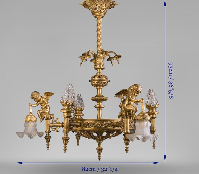 Beautiful antique Napoleon III style chandelier, with Putti carrying tulips-9