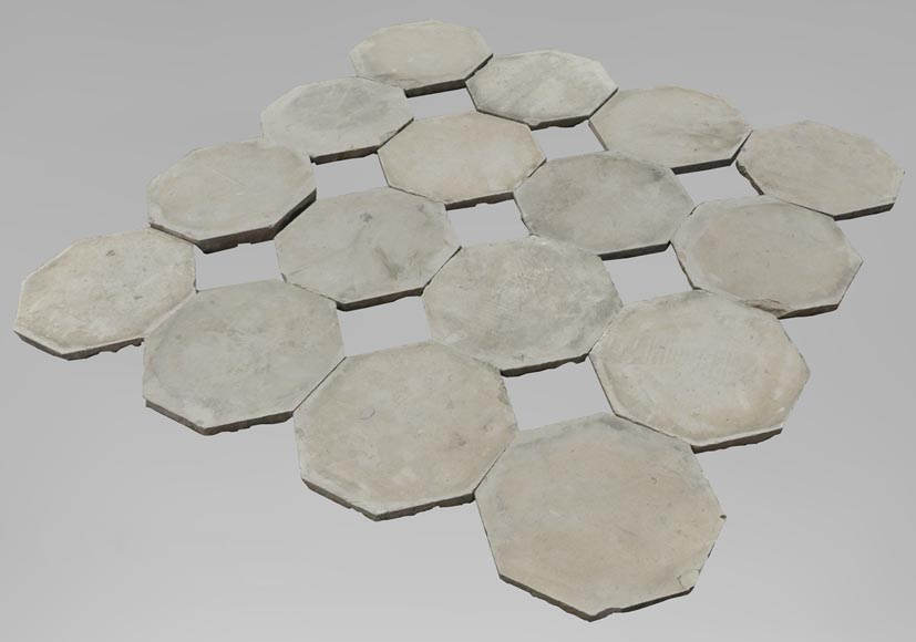 Floor composed of a beautiful set of octagonal cabochons from the 19th century-0