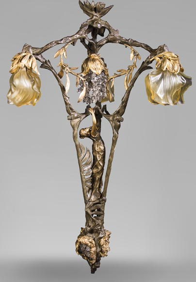 Antique Art Nouveau stylechandelier, featuring a dancer-0