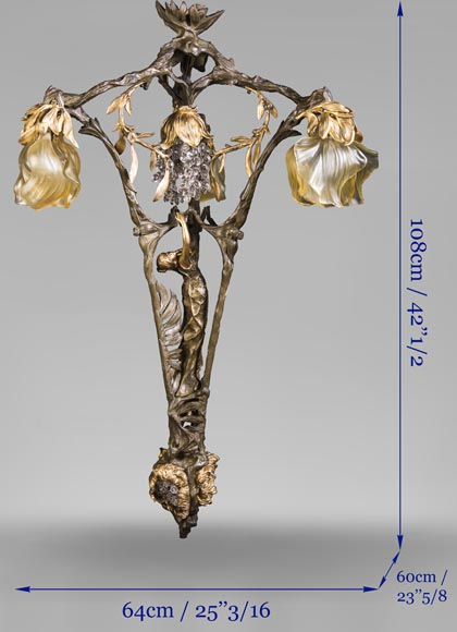 Antique Art Nouveau stylechandelier, featuring a dancer-9