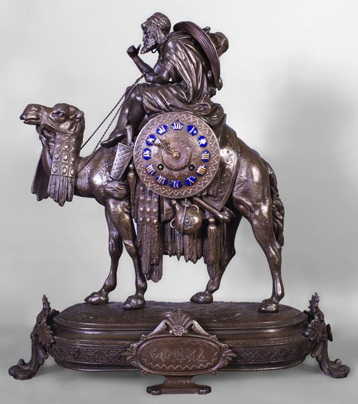 Clock with a egyptian meharist on his mount, late 19th century-0
